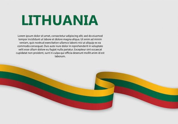 Waving flag of lithuania banner