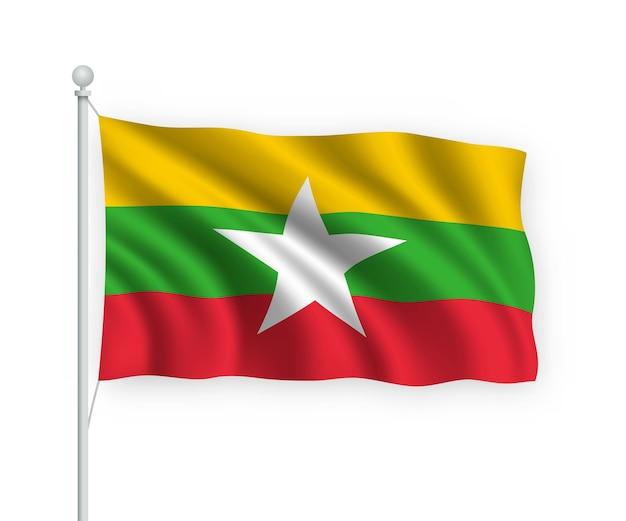 Развевающийся флаг мьянмы на флагштоке изолированного на белом