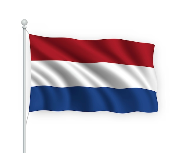 Waving flag netherlands on flagpole isolated on white