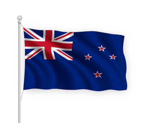 Развевающийся флаг новой зеландии на флагштоке изолированного на белом