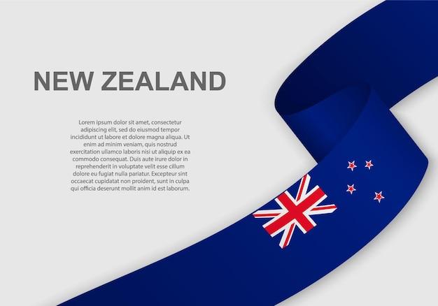Waving flag of new zealand.