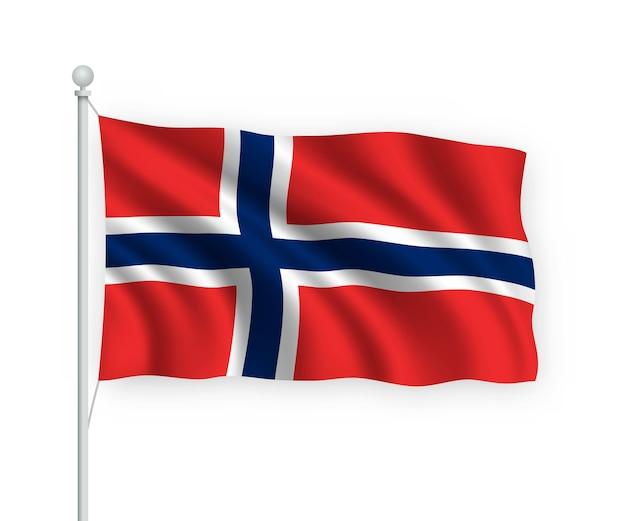 흰색 절연 깃대에 노르웨이 깃발을 흔들며