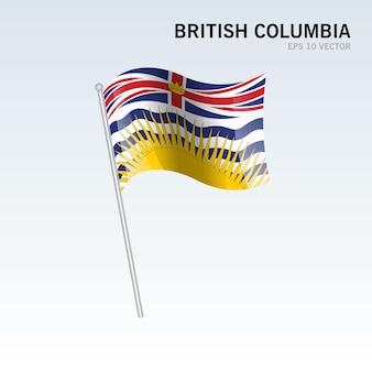 灰色の背景に分離されたカナダのブリティッシュコロンビア州の旗を振る