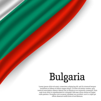 白地にブルガリアの旗を振る