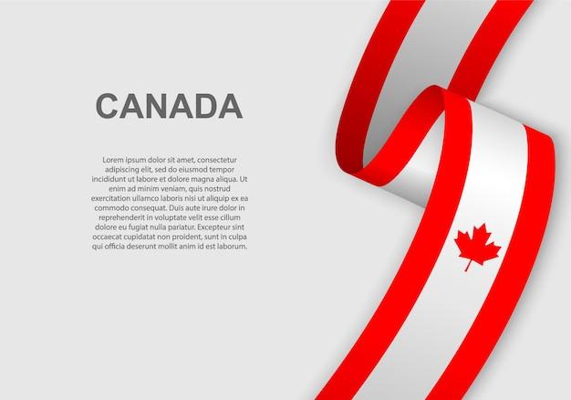 캐나다의 깃발을 흔들며.