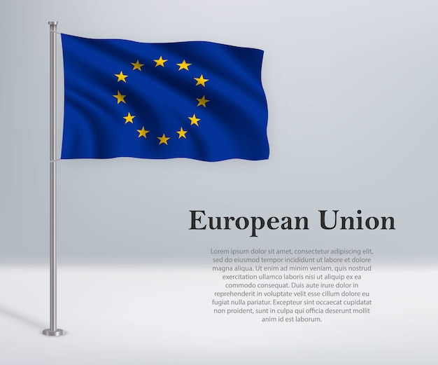 깃대에 유럽 연합의 깃발을 흔들며
