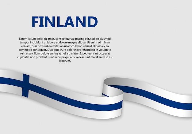 핀란드 깃발의 깃발을 흔들며
