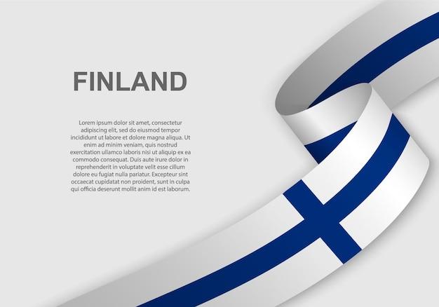 Развевающийся флаг финляндии.