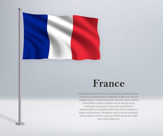 旗竿にフランスの旗を振る