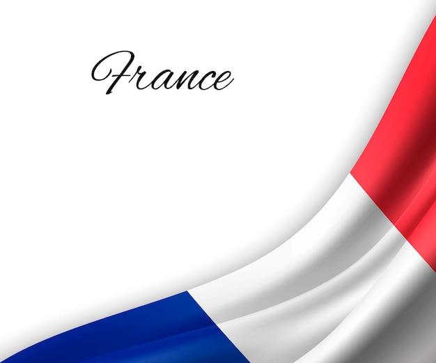 白い背景の上のフランスの旗を振っています。