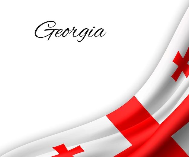 白い背景にジョージアの旗を振っています。