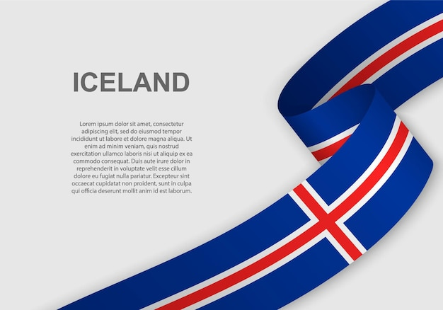 Развевающийся флаг исландии.