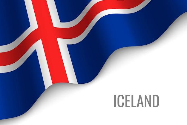 アイスランドの旗を振る