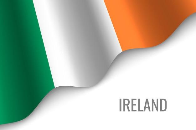 アイルランドの旗を振る