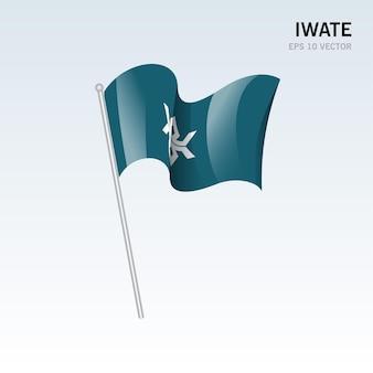 회색 배경에 고립 된 일본 이와테 현의 깃발을 흔들며