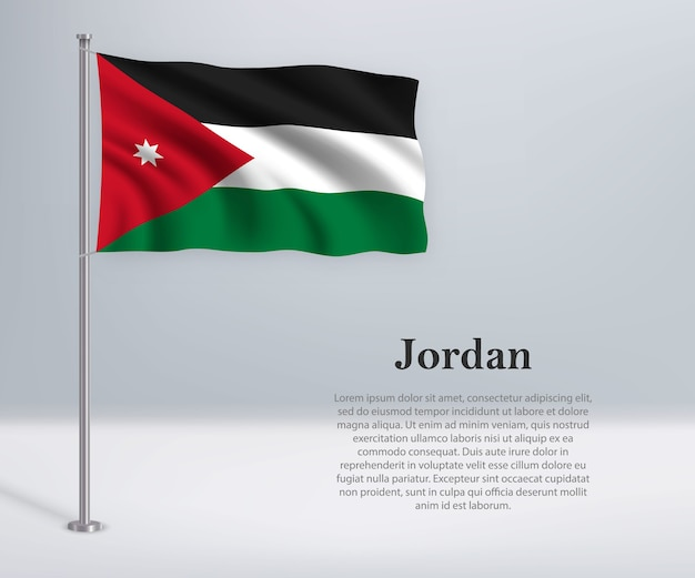 旗竿にヨルダンの旗を振る