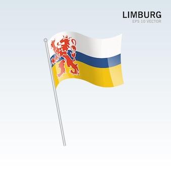 회색 배경에 고립 된 네덜란드의 림부르크 지방의 깃발을 흔들며