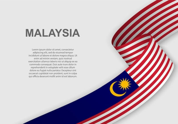 말레이시아의 깃발을 흔들며.