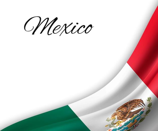 白い背景の上のメキシコの旗を振っています。
