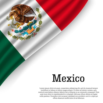 Развевающийся флаг мексики на белом