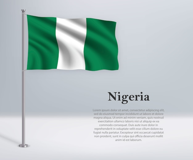 旗竿にナイジェリアの旗を振る
