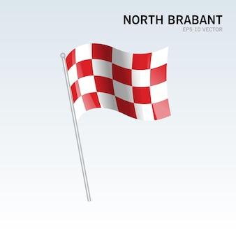 회색 배경에 고립 된 네덜란드의 북부 브라 반트 지방의 깃발을 흔들며 프리미엄 벡터