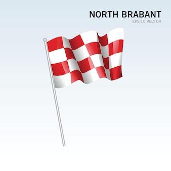 회색 배경에 고립 된 네덜란드의 북부 브라 반트 지방의 깃발을 흔들며