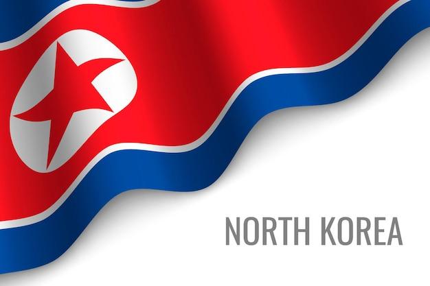 北朝鮮の旗を振る