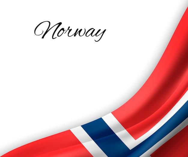 흰색 바탕에 노르웨이의 깃발을 흔들며. 프리미엄 벡터