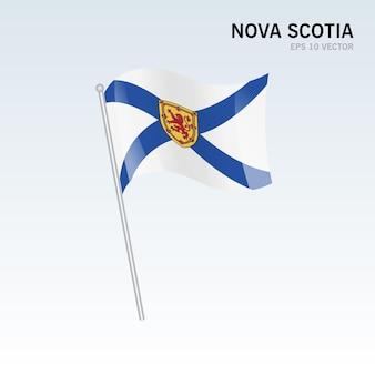 灰色の背景に分離されたカナダのノバスコシア州の旗を振る