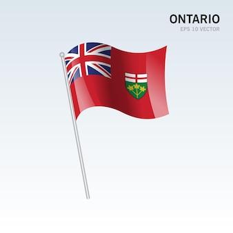 灰色の背景に分離されたカナダのオンタリオ州の旗を振る