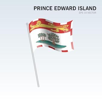 회색 배경에 고립 된 캐나다의 프린스 에드워드 아일랜드 지방의 깃발을 흔들며