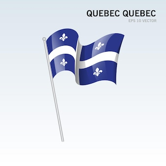 회색 배경에 고립 된 캐나다의 퀘벡 주, 퀘벡의 깃발을 흔들며