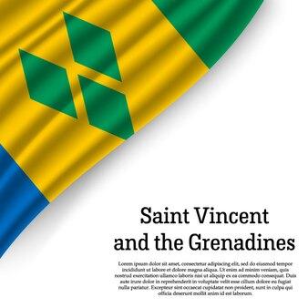 セントビンセントおよびグレナディーン諸島の旗を白で振る
