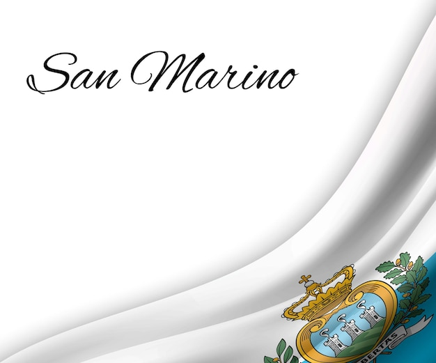 Развевающийся флаг сан-марино на белом фоне.
