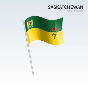 灰色の背景に分離されたカナダのサスカチュワン州の旗を振る