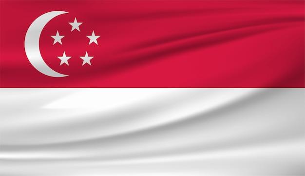 싱가포르 템플릿의 깃발을 흔들며
