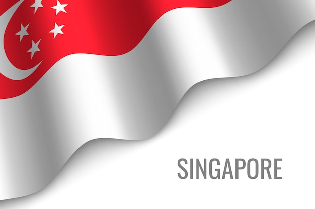 シンガポールの旗を振る