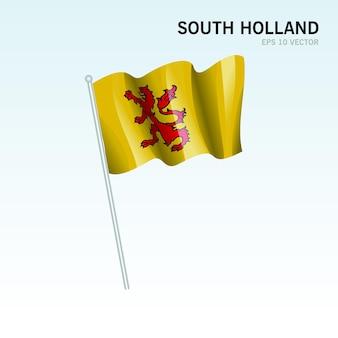 회색 배경에 고립 된 네덜란드의 남쪽 네덜란드 지방의 깃발을 흔들며