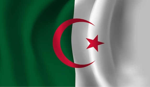 Развевающийся флаг алжира. размахивая флагом алжира абстрактный фон
