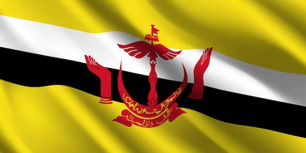 Развевающийся флаг брунея. развевающийся флаг брунея