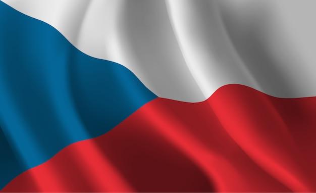 Развевающийся флаг чешской республики. развевающийся флаг чешской республики