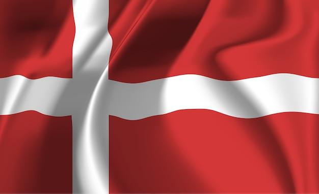 Развевающийся флаг дании. развевающийся флаг дании