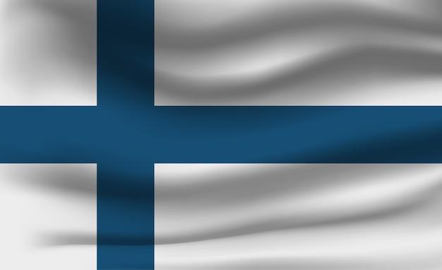 Развевающийся флаг финляндии. развевающийся флаг финляндии абстрактный фон