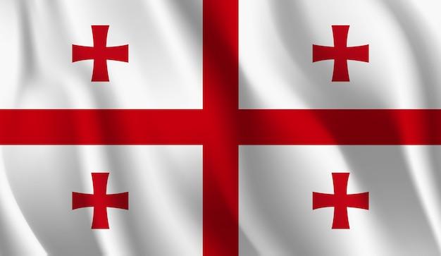 ジョージア州の旗を振っています。ジョージア州旗を振って抽象的な背景