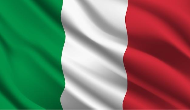 Развевающийся флаг италии. развевающийся флаг италии абстрактный фон