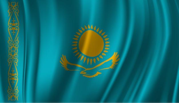 カザフスタンの旗を振っています。カザフスタンの国旗の抽象的な背景を振る