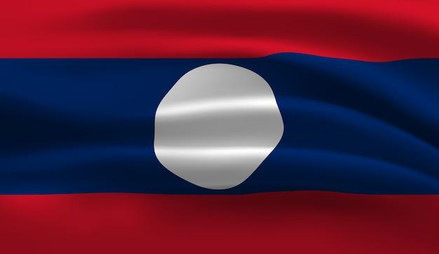 ラオスの旗を振っています。ラオスの旗の抽象的な背景を振る
