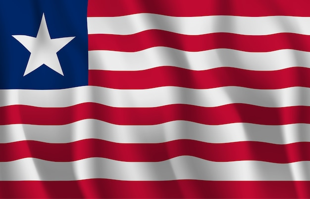 リベリアの旗を振っています。リベリアの国旗の抽象的な背景を振る