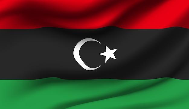 リビアの旗を振っています。リビアの旗の抽象的な背景を振る